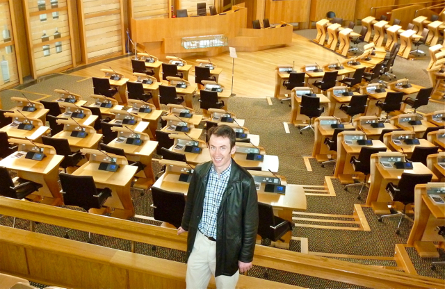 Andrew Cornwell in the chamber of the Scottish Parliament, Edinburgh, Scotland. Photo: Rachel Cooke. All rights reserved.