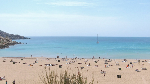 On the beach in Malta.